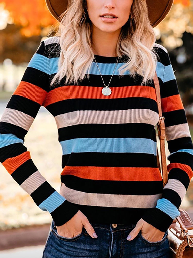 Fashion Round Neck Striped Sweater
