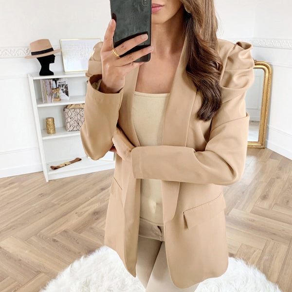 Classic long sleeves runched flap pockets blazer