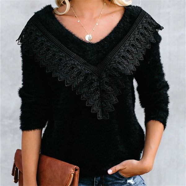 Lace V-neck long-sleeved knit sweater
