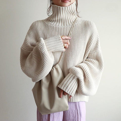 Casual High Neck Pure Color Sweater