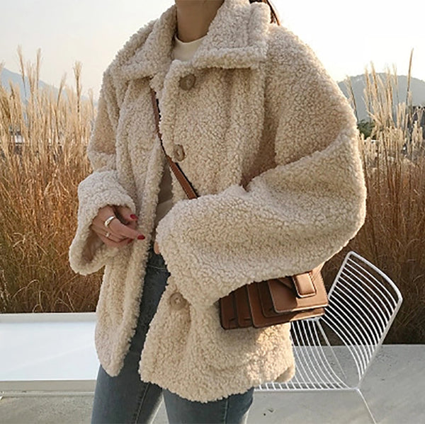 Sweet Solid Color Fuzzy Short Coat