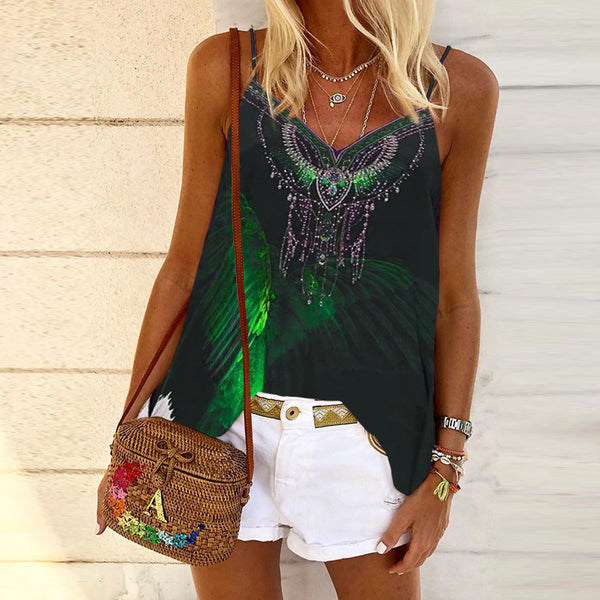 Casual V-Neck Butterfly Positioning Printed Vest