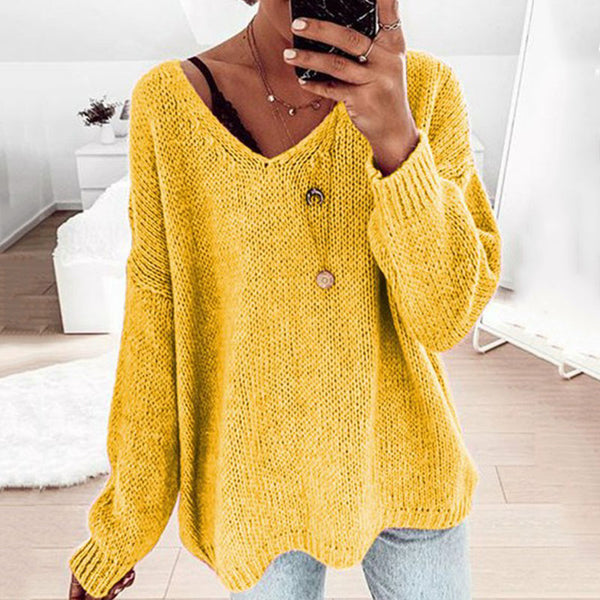 Casual V Neck Pure Colour Loose Sweater