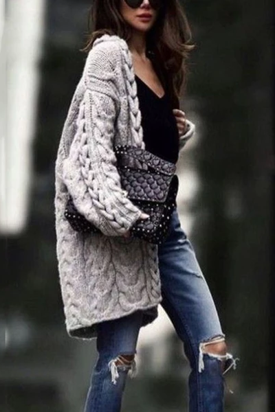 Casual Solid Color Twist Sweater Cardigan