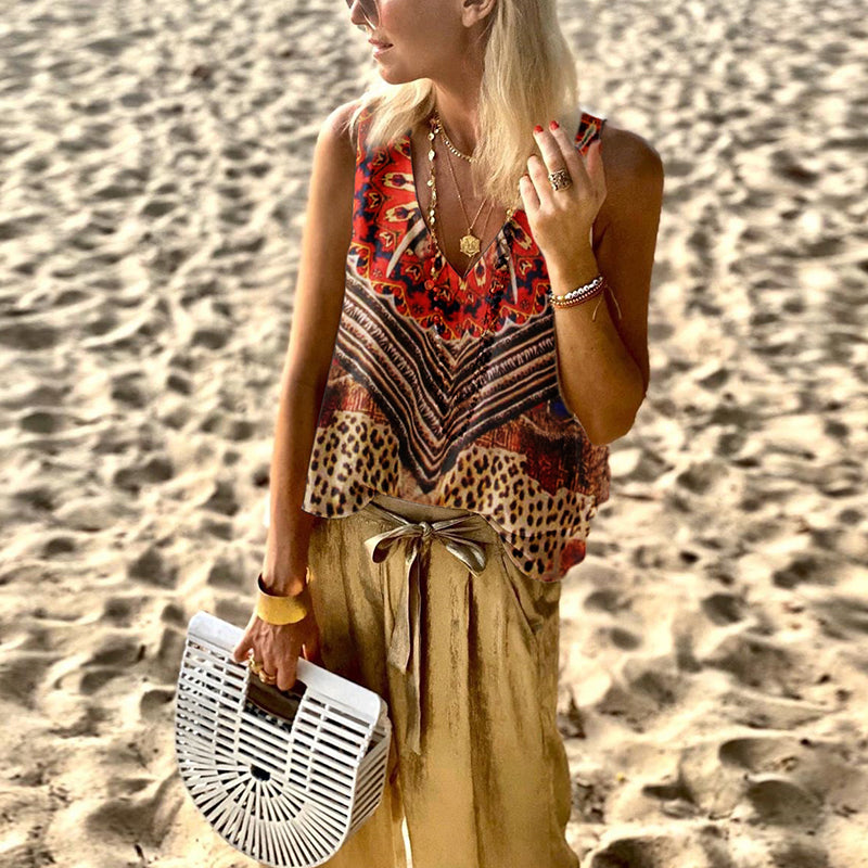 Bohemian Printed Loose Tank Top