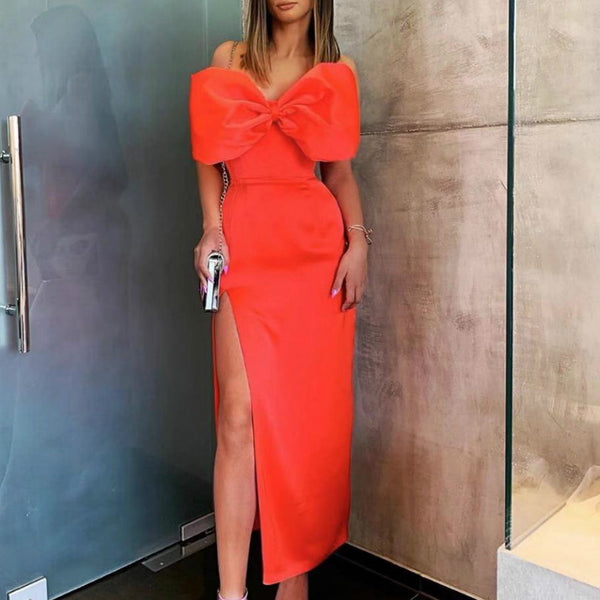 Europe and the United States new wrapped chest sexy bow side slit dress backless dress midi dress