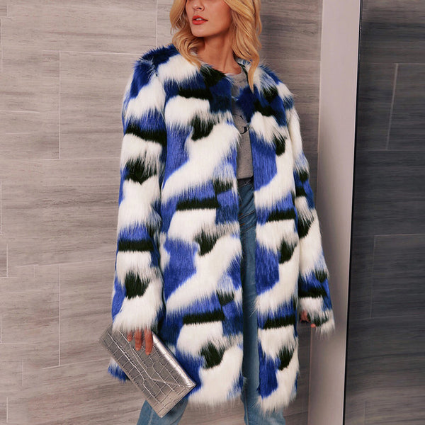 Fashion Women Mixed Color Faux Fur Overcoat