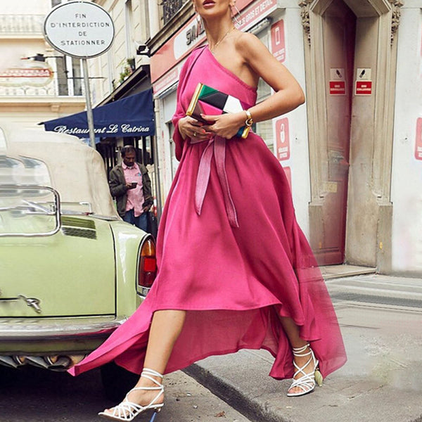 Elegant sleeveless irregular one-shoulder sleeve backless long dress