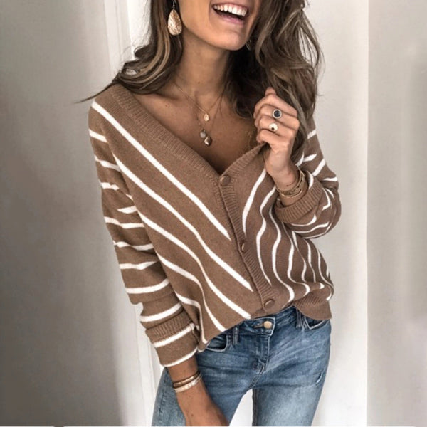 Casual V Neck Stripe Loose Sweater
