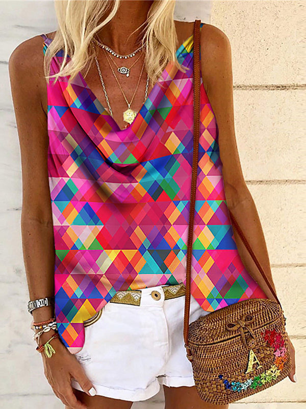 Women's Fashion Sleeveless V-neck Geometric Vest