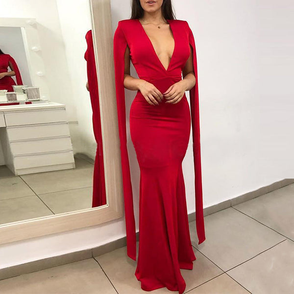 Sexy Pure Color Deep V Fish Tail Dress