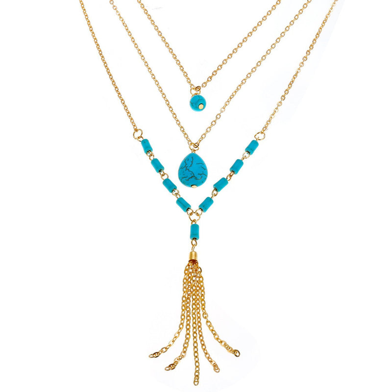 Bohemia multilayer necklace of style restoring ancient ways Turquoise tassel necklaces