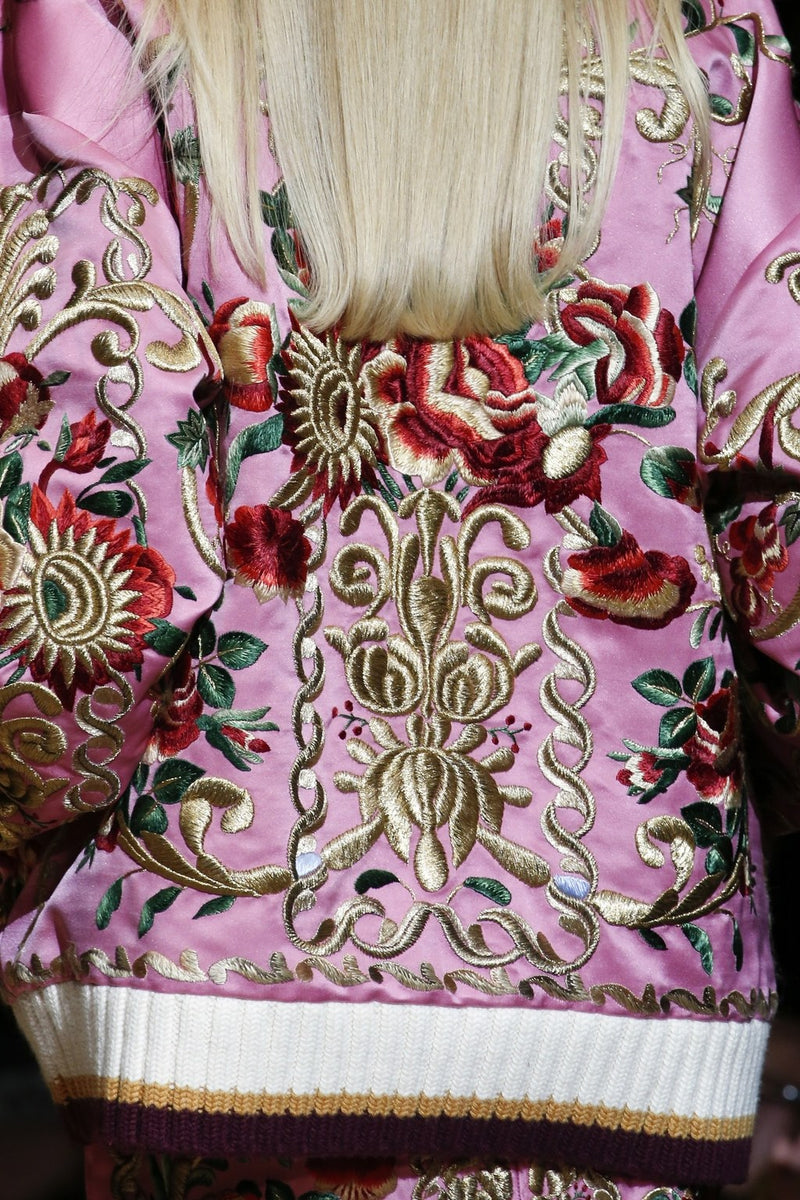 Fashion pink embroidered loose jacket