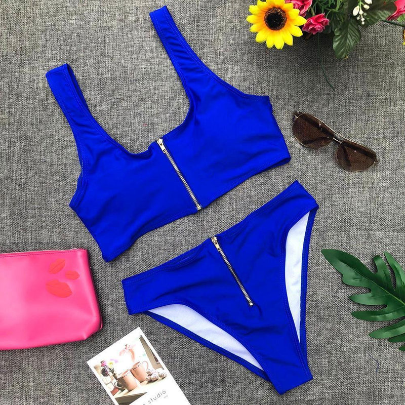 Sexy bikini solid color high waist zipper split swimsuit