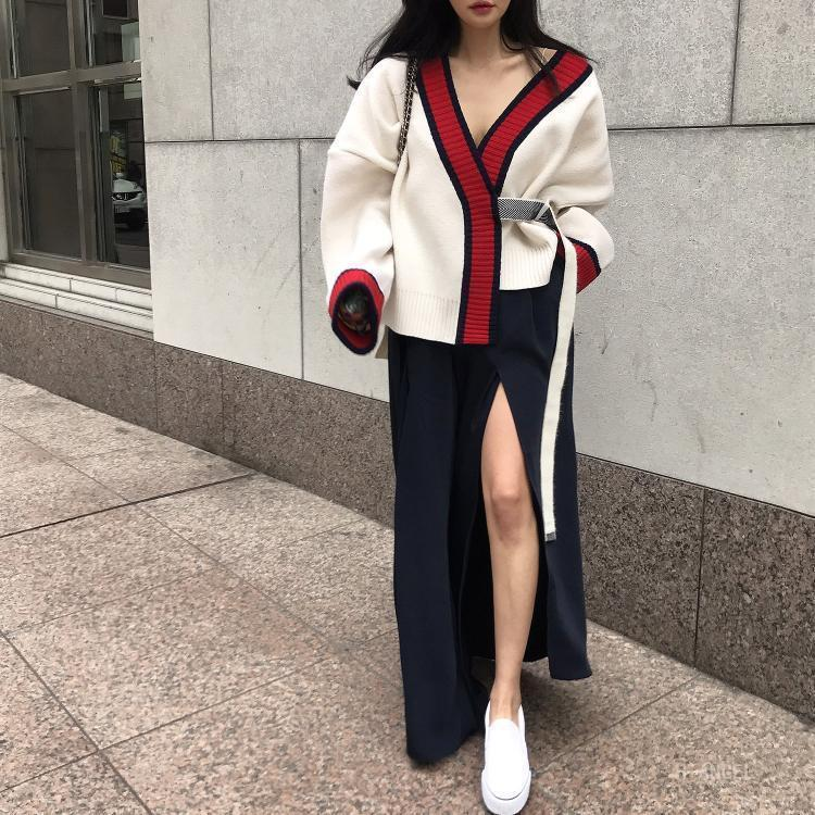 Casual Simple Loose  Fashion Tied Knitted Sweater Cardigan
