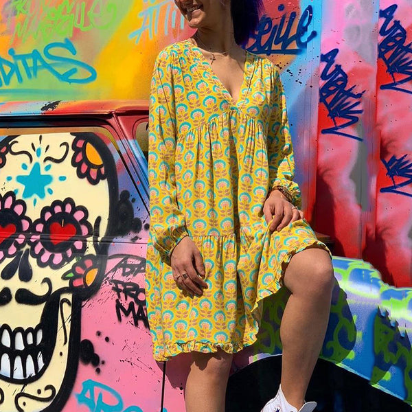 Casual V Neck  Long Sleeve Printed Colour Dress
