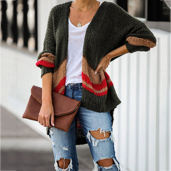 Casual And Loose Color Long Sleeve Sweater