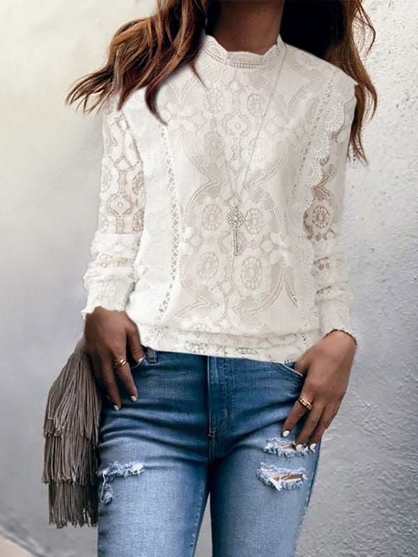 Women's Stand Collar Lace Long Sleeve Shirt