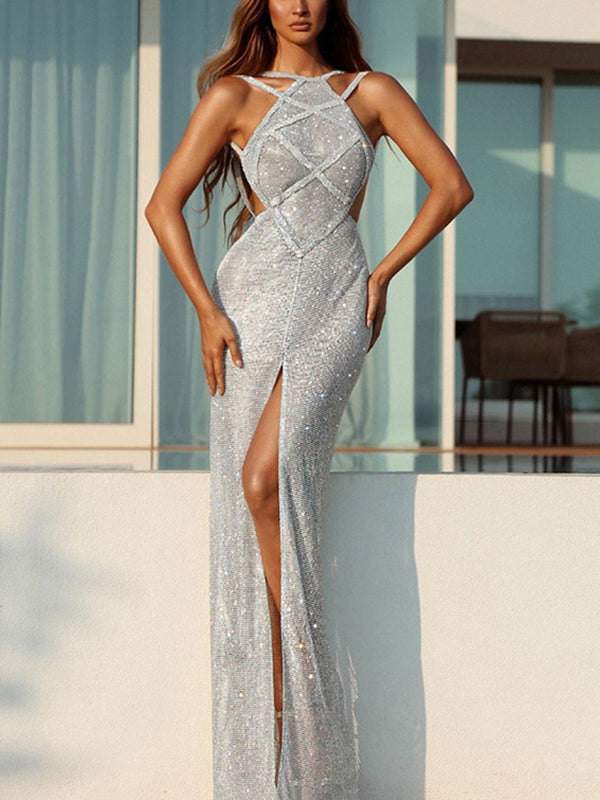Women's Elegant Slit Bare Back Sleeveless Paillette Evening Dress