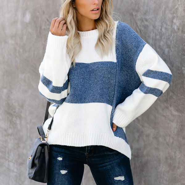 Women Color Matching Round Neck Casual Sweater
