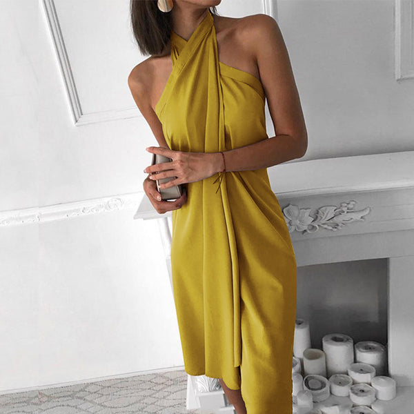 Halter Chiffon Sleeveless Dress