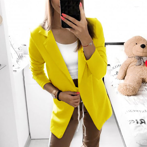 Work Long Sleeve A Lapel Pure Color Blazer