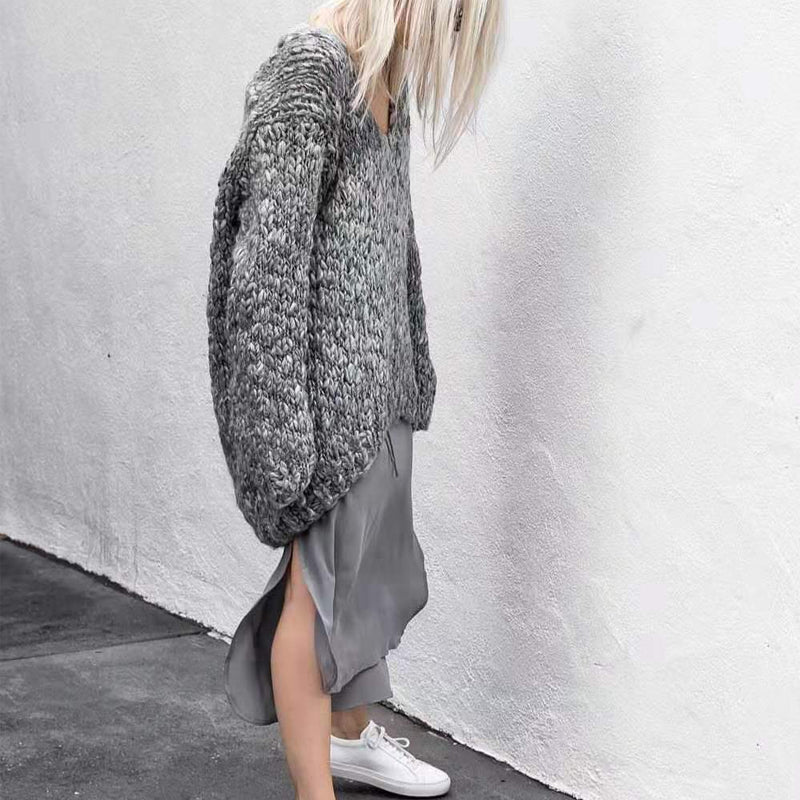 V-neck Loose Solid Color Sweater.