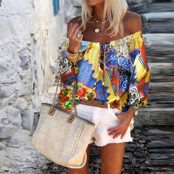 Bohemian Neck Long Sleeve Abstract Print Top