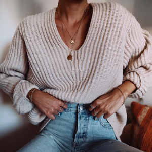 Elegant Pure Color Loose Deep V Neck Sweater