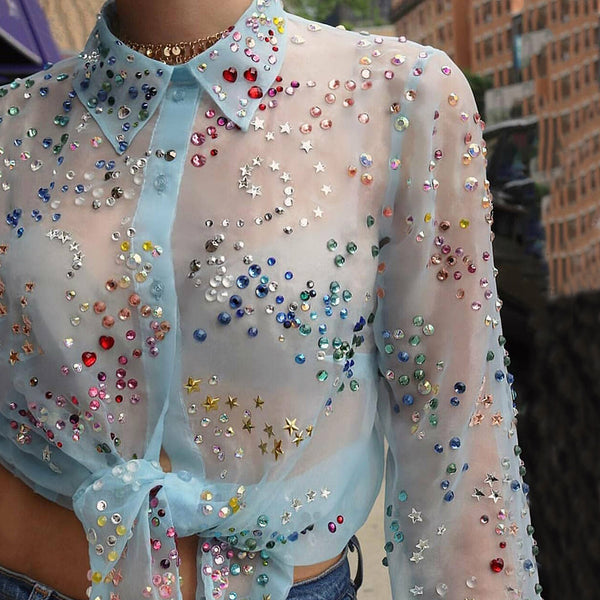 Women's Fashion Hot Drilling See-through Long Sleeve Blouse