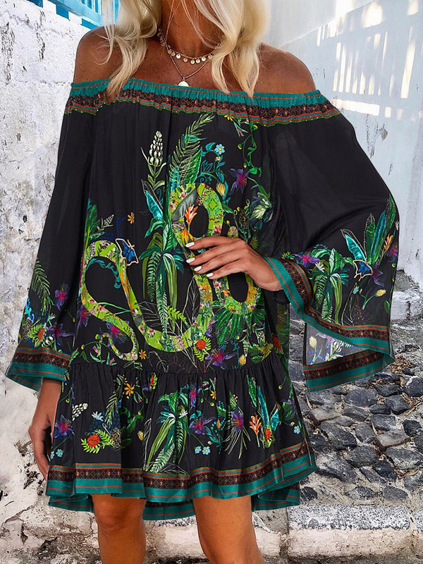 Casual Off-shoulder Bell Sleeve Printed Mini Dress
