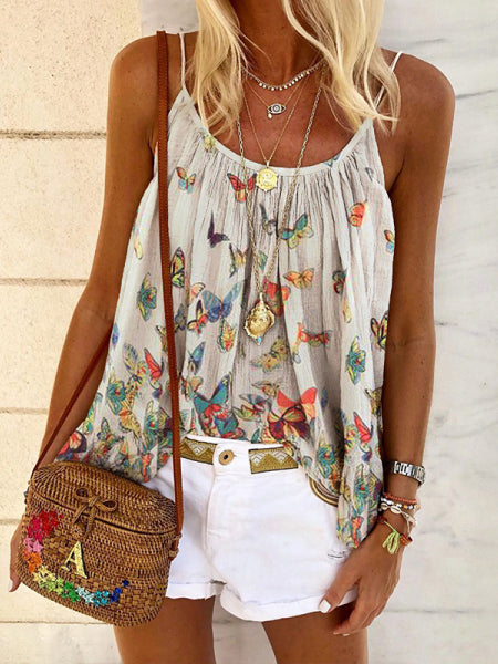 Casual Boho Loose Butterfly Print Camisole