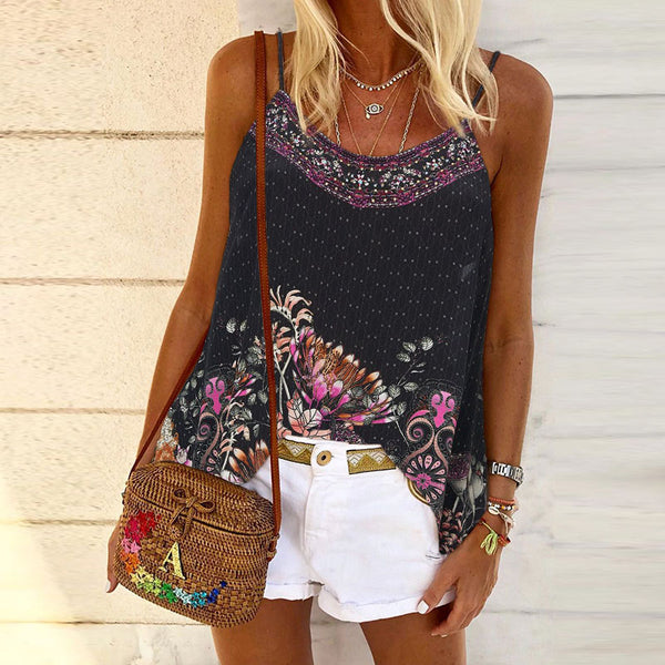 Casual printed floral summer vest