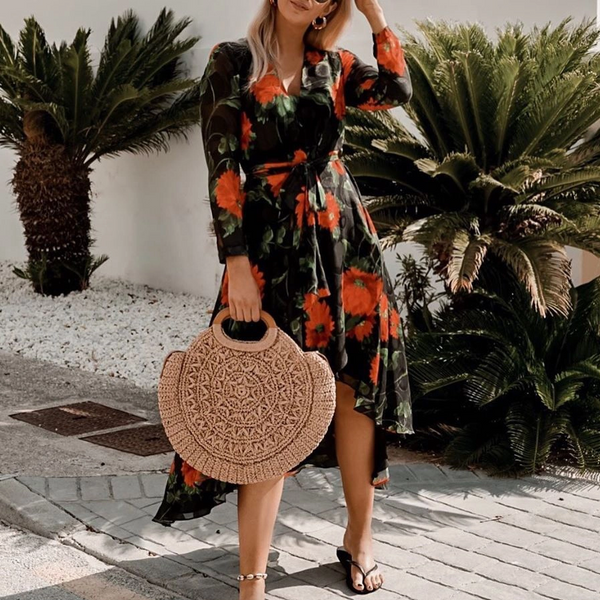 Casual Floral Printed V Neck High-Low Dress