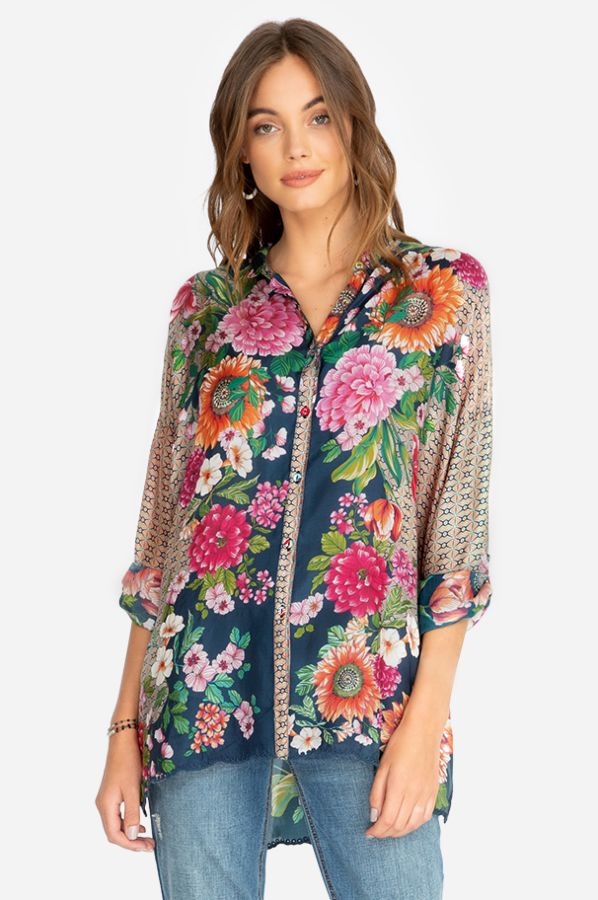 Bohemian Style V-Neck Single-Row Button Print Shirt