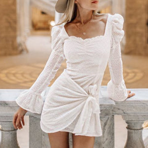 Women's Sweet Trumpet Sleeve Bow Dress