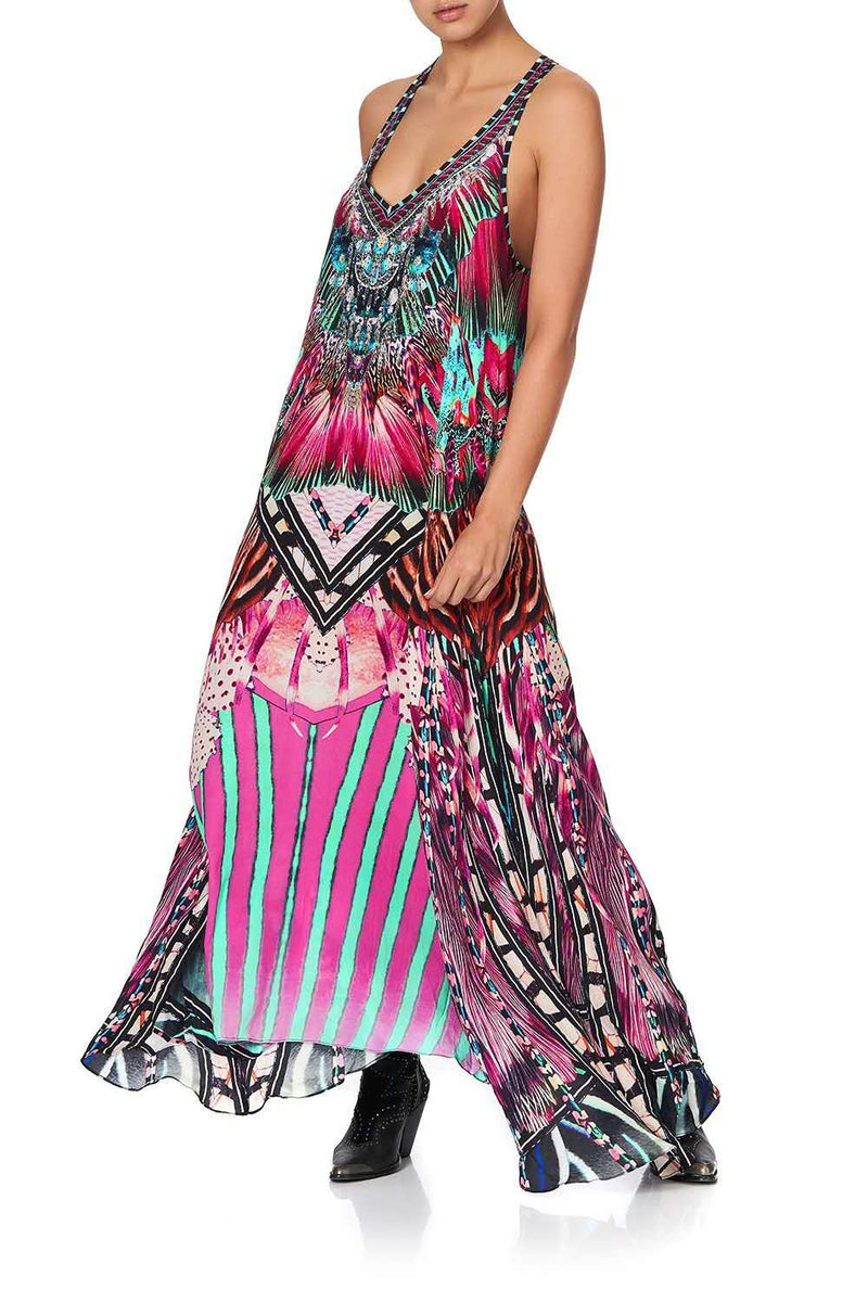 Casual V Neck Art Printed Sleeveless Maxi Dress