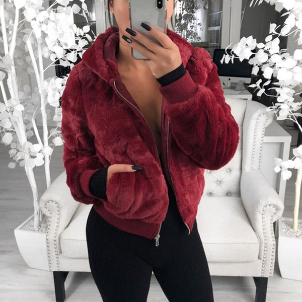Brief Long Sleeve Pure Colour Hooded Jacket