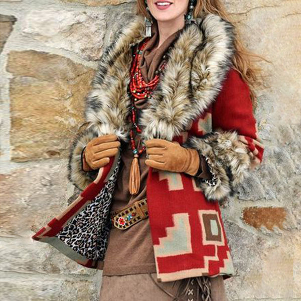 Womens classic fur collar print coat