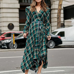 England V Neck Style Check Long Sleeve Dress