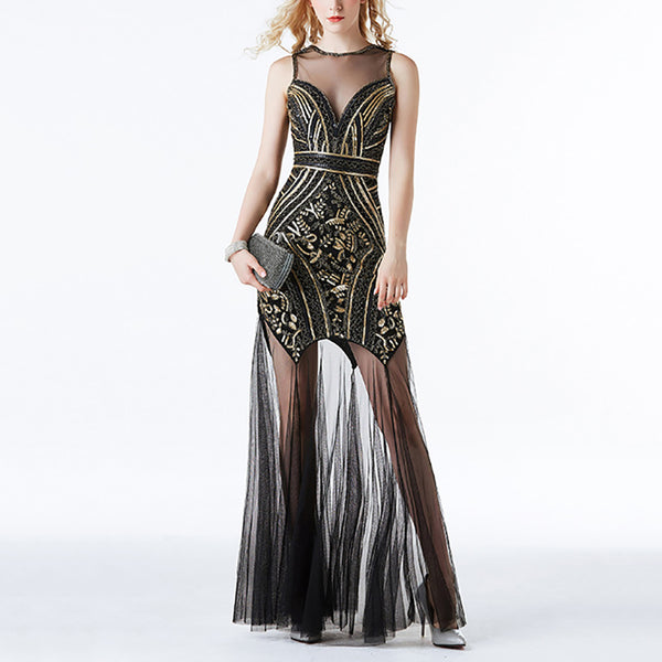 Vintage noble beaded mesh sequin evening dress