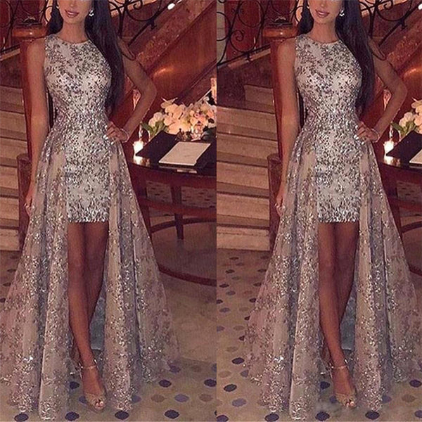 Sexy Round Neck Sleeveless Sequin Party Evening Dress