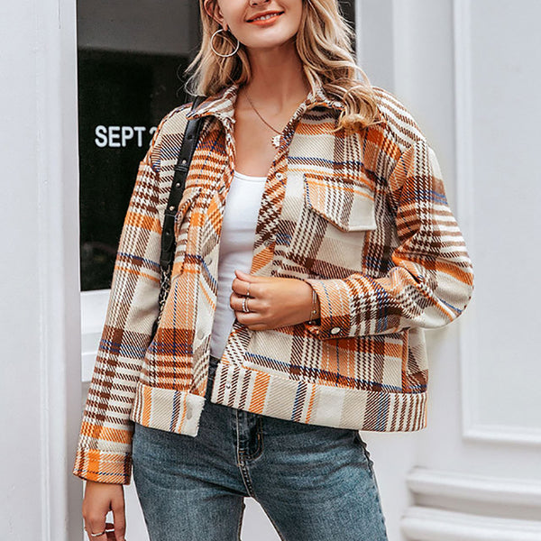 Women's Fashion Plaid Lapel Long Sleeve Overcoat