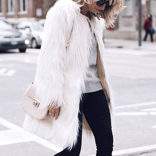 Fashion Solid Colour Long Sleeve Fur Coat