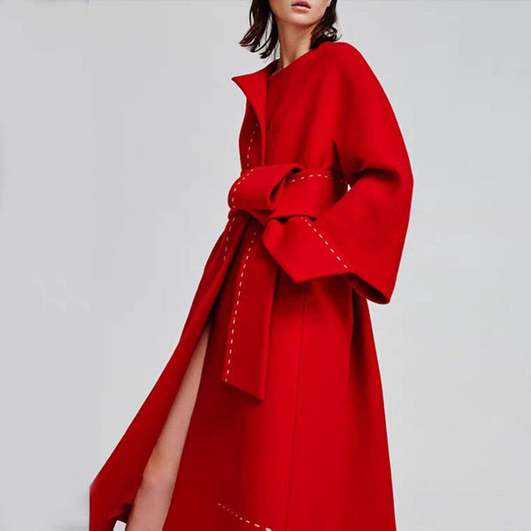 Fashion solid color tie coat