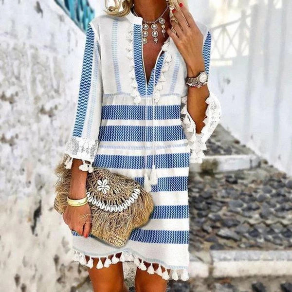 Casual Print Stripe Fringe V-neck Mini Dress