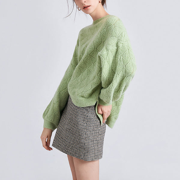 Simple Solid Color Long-Sleeved Knitted Sweater