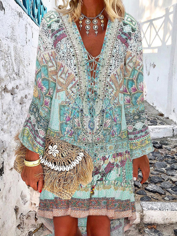 Bohemian V Neck Irregular Printed Dress