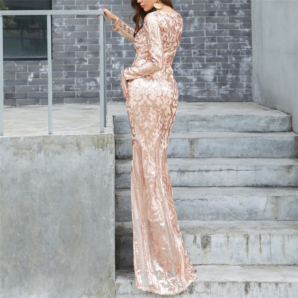 Sequined sexy round neck long sleeve retro evening dress
