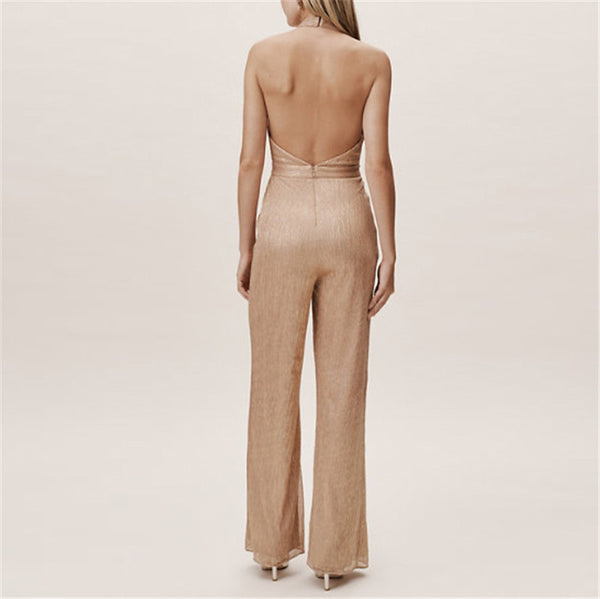 Sexy backless sleeveless halter jumpsuit